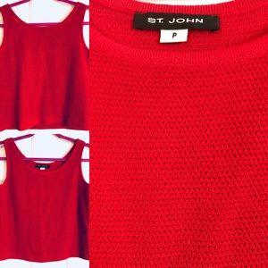 St John Sleeveless Knit Top - Red - Size XS